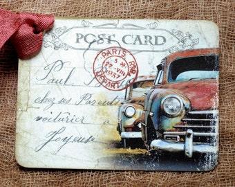 Old Rusty Car Postcard Tags #696