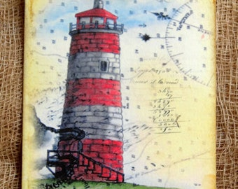 Lighthouse Beach Ocean Gift or Scrapbook Tags or Magnet #352