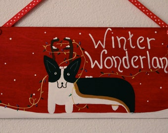 Corgi  Christmas Door Decoration Winter Wonderland