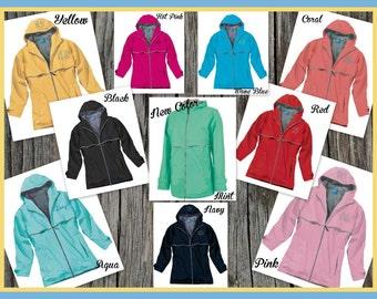 Monogrammed Rain Jacket - Charles River Apparel,  Personalized Adult Sizes, Ladies, Women, Teen, College, Back to School, Rain Gear