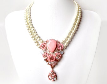 Coral Centerpiece Necklace with Ivory Pearls - Antique Gold Peach Pink Brooch Necklace -  Vintage Inspired Brooch - Blush Wedding Necklace