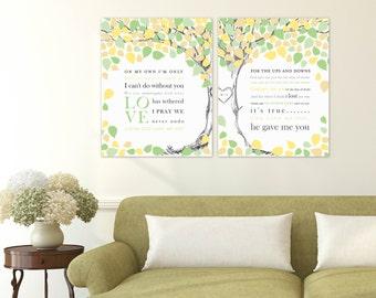 Wedding Tree Guestbook, Wedding Song Lyric Art, Paper Anniversary Gift, Wedding Vow Keepsake // Choose Art Print or Canvas // W-T06-2PS HH5
