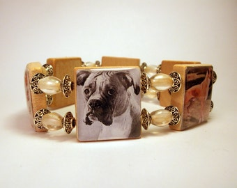 BOXER Jewelry / Natural Ear - Uncropped / SCRABBLE Bracelet / Upcycled Art