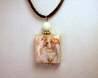 English BULLDOG Jewelry / SCRABBLE Pendant / Handmade Unusual Gifts / Necklace with Satin Cord