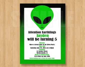 Green Alien Space Cool Birthday Party Personalized Invitation Digital File