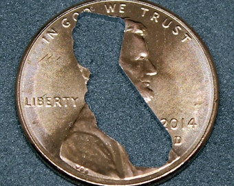 Lucky penny with California cut out