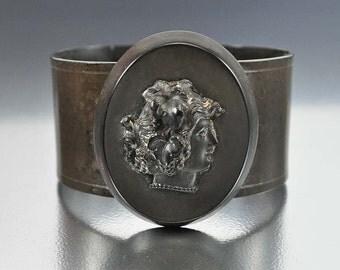 Gutta Percha Victorian Bracelet, Mourning Jewelry, Black Cameo Wide Wrap Bracelet, Antique Jewelry, Cuff Bracelet, Cameo Jewelry