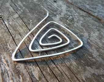 triangular sterling silver shawl pin scarf pin