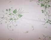 "Vintage Early 1960's Tablecloth, Soft Pink with White Violet Nosegays, Linen and Rayon, 50"" x 65"", FREE SHIPPING"