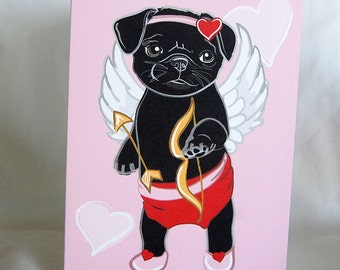 Cupid Pug Greeting Card