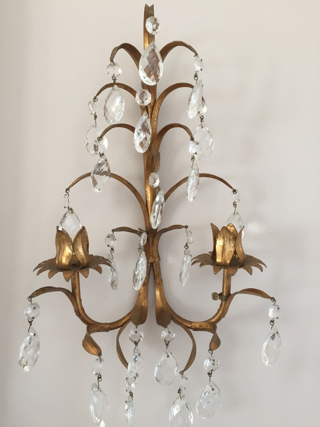 Italian Tole Wall Sconce with Cut Crystal by sewbeautiful2 on Etsy