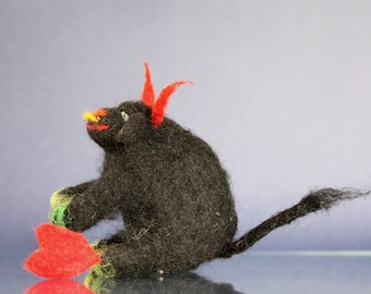Needle felted Black Bull with red heart, love gift, beast totem, waldorf toy, soft sculpture, black, romantic gift, whimsical proposal,  fun