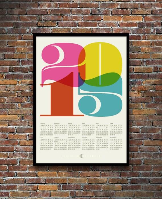 Retro Calendar Design : Calendar poster print mid century modern retro kitchen