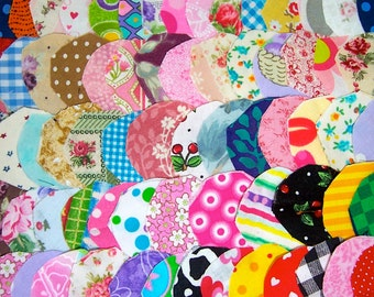 Fabric Craft Stash 100 Circles Quilt Card Making Button Covers Scrapbooking Altered Art Trim