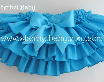 Turquoise Blue Sassy Pants Ruffle Diaper Cover Panty Bloomer