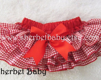 Red with Gingham Ruffles Classic Style Sassy Pants Ruffle Diaper Cover Bloomer