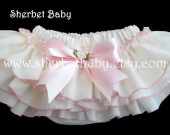 Ivory with Pink Sassy Pants Ruffled Bloomer Diaper Cover with Bow