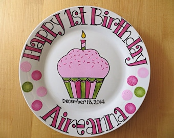 Hand Painted Personalized Happy Birthday Plate . First Birthday Gift for Girl . Cupcake with Sprinkles