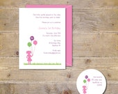 Girl's First Birthday Invitations, Invites, Girl, Balloons, 1st, Pink, Purple, Summer, 1st Birthday, Party Invitation, Silhouette - Balloons