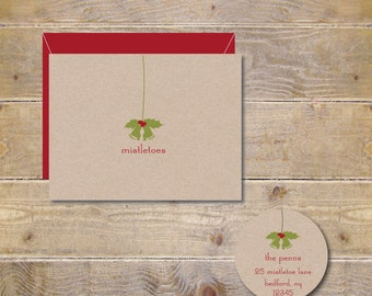 Christmas Cards . Holiday Card Set . Expecting Baby Christmas Cards . Pregnancy Announcement Holiday Cards - Mistletoes