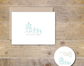 Family Stationery, Family Thank You Cards, Family Notes Cards, Stick Figures Cards, Stick Figure Family, Baby Thank You Cards, Thank You