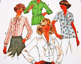 Womens Blouse with Bow Pattern 1970s Simplicity Pattern Misses size 18 20 UNCUT