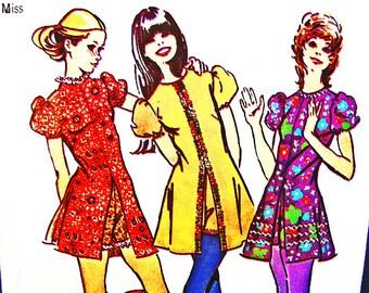 1970s Vintage Dress Pattern Misses size 10 Simplicity Pattern MOD Mini Dress with Short Shorts, Hot Pants Sewing 70s