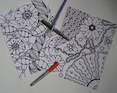Instant Download Doodle Coloring Pages - 5 Printable Designs  - Set 3