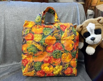 Cotton Shopping Tote Bag, Pumpkin Patch Print