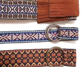 Vintage Hippie Belts 1970s Woven Fabric Groovy Boho Bohemian Gypsy Suede Fringe Round Brass Ring Buckles Multicolor Ethnic
