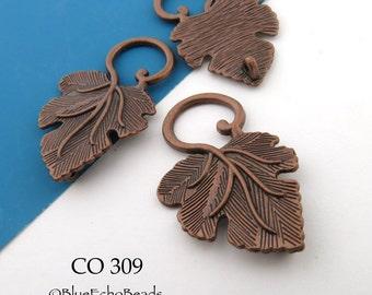 Large Antique Copper Leaf Toggle Large Leaf Clasp 36mm (CO 309) 3 sets BlueEchoBeads