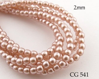 2mm Tiny Czech Glass Pearls Peach Round (CG 541) 50pcs BlueEchoBeads