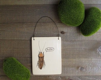 Wall tile, cockroach hanging tile, Hello, spring garden wall decor