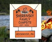 Colored Campfire with Pine Trees - Custom Carved Cedar Wooden Family Name Sign - Great Christmas Gift