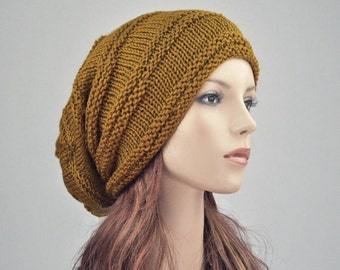 Hand knit wool hat woman hat Mustard yellow Chunky Wool Hat Slouchy hat - ready to ship