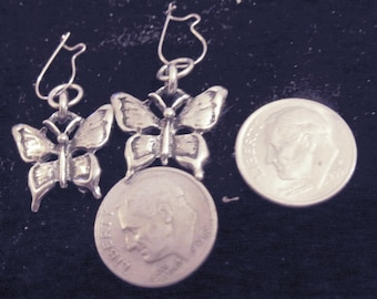 bling pewter nature bug insect butterfly wings ear ring stainless steel wire hook kidney hip hop myjewelrybling