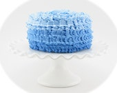 Fake Cake for Photo Shoots, Home Decor, Birthday Party Decor. Blue Ombre Ruffle Cake. Smash Cake Prop, First Birthday