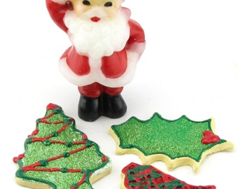 Fake Christmas Cookies Set of 3~ Faux Red & Green Sugar Cookie Decor, 1 Tree, 1 Bell, 1 ~Can Be Ornaments 12 Legs Original Design