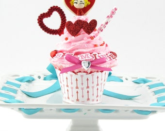 """Fake Cupcake with Vintage Valentine Cupcake Topper. """"Be Mine"""" Banner. Hearts/Arrow Cupcake Wrapper. Fab Valentine's Day Gift. READY TO SHIP!"""