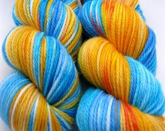 "DK Wool Yarn ""Gone Fishing"" - Hand Dyed DK Yarn, Hand Dyed Yarn in aqua, orange, red, white - superwash wool, DK weight, 218 yards"