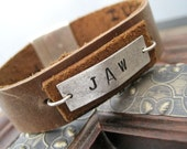 Personalized Recycled Leather Hidden Message Bracelet for Men or Women