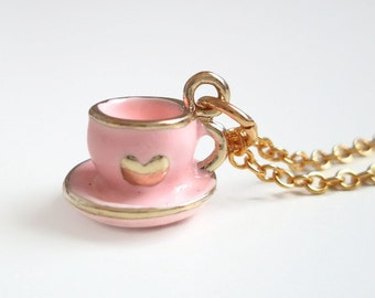 Pink Teacup Charm Necklace - Tea Party - Alice in Wonderland