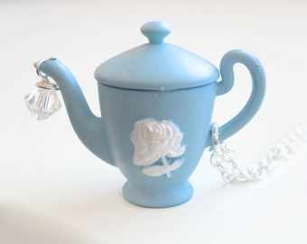 Blue Teapot Necklace with White Rose Detailing