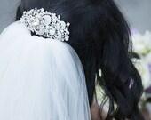 Statement Bridal Hair Jewelry, Swarovski Crystal Pearl Hair Comb, Floral Vines Headpiece, GEORGIA