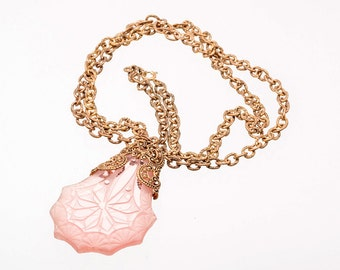 Long Art Deco Glass Necklace - Pink Glass Perfume Stopper - GF Filigree Chain