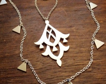 Moroccan geometry triangle necklace - layered necklace set of 2