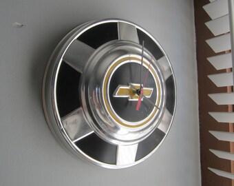 Vintage 1970's Chevy Truck Hubcap Clock no.2405