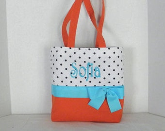 orange , white dotted , turq    Monogrammed/Personalized Tote, Purse, Bridesmaid Gift, Flower Girl, MOB, MOG,Cheer Squad, Brownie