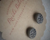SALE ~ Stamped Clay Posts Earrings in Gray and Navy By Brooke Baker of AidensBrook