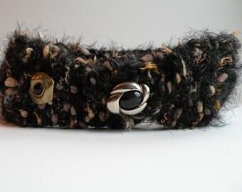 "Winter headband 3"" wide black tan beige gold silver brown stretch knit crochet button messy bun hat, women's dread wrap SOFT wool blend i710"